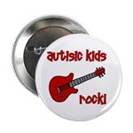 "Autistic Kids Rock! Red Guit 2.25"" Button"