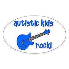 Autistic Kids Rock! Blue Guit Oval Decal