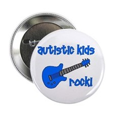 "Autistic Kids Rock! Blue Guit 2.25"" Button"