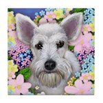 SCHNAUZER DOG WHITE GARDEN Tile Coaster