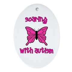 Soaring with Autism! Butterfl Oval Ornament