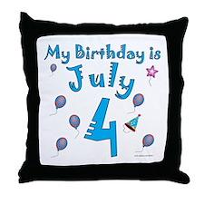 July 4th Birthday Throw Pillow