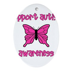 Support Autism Awareness Butt Oval Ornament