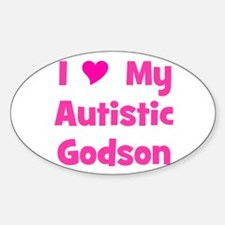 I Love My Autistic Godson Oval Decal