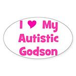 I Love My Autistic Godson Oval Sticker