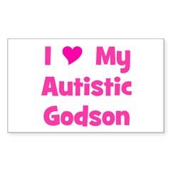 I Love My Autistic Godson Rectangle Decal