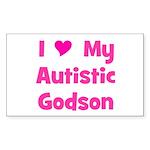 I Love My Autistic Godson Rectangle Sticker