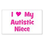I Love My Autistic Niece Rectangle Sticker