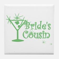 Green C Martini Bride's Cousin Tile Coaster