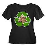 Recycle Women's Plus Size Scoop Neck Dark T-Shirt