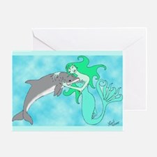Mermaid & Dolphin Greeting Card