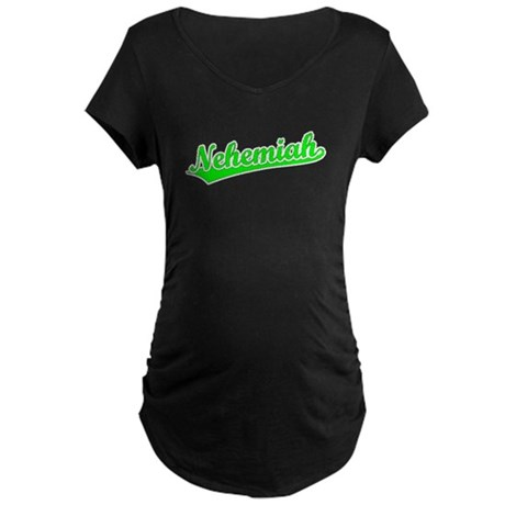 Retro Nehemiah (Green) Maternity Dark T-Shirt