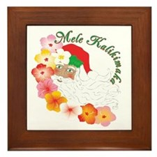 Santa Surrounded by Hibiscus Framed Tile