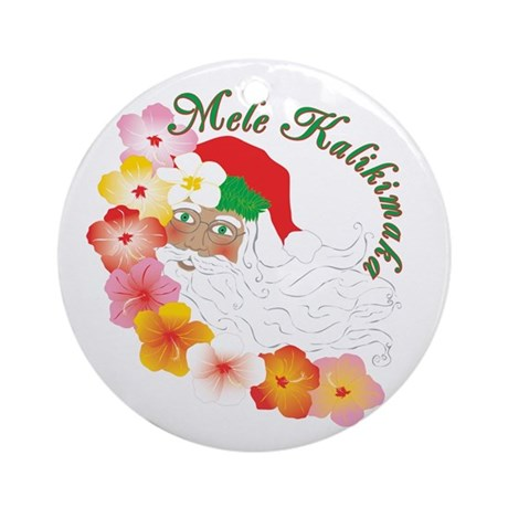 Santa Surrounded by Hibiscus Ornament (Round)