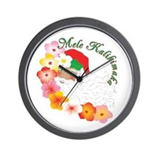 Santa Surrounded by Hibiscus Wall Clock