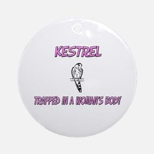 Kestrel Trapped In A Woman's Body Ornament (Round)