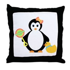 penguin with rattle Throw Pillow