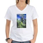 Green Bicycle Women's V-Neck T-Shirt