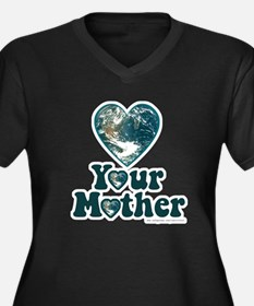 Love your mother Women's Plus Size V-Neck Dark T-S