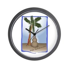 Palm Tree & Sand Woman Wall Clock