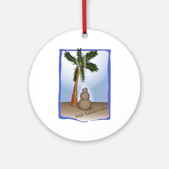 Palm Tree & Sand Woman Ornament (Round)