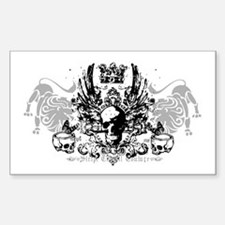 Winged Skull and Crown Rectangle Decal