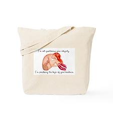 Pondering Redhead Pinup Girl Tote Bag