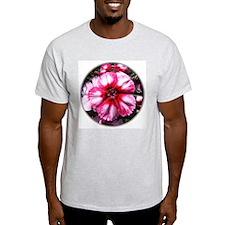 China Pink Flower Ash Grey T-Shirt