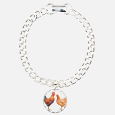 Watercolor Rooster and H Bracelet