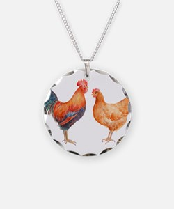 Watercolor Rooster and Hen Necklace
