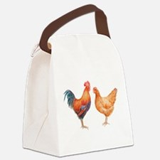 Watercolor Rooster and Hen Canvas Lunch Bag