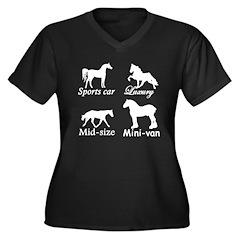 Horse Cars Women's Plus Size V-Neck Dark T-Shirt