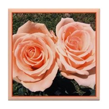 Peach Roses Tile Coaster