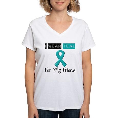 I Wear Teal Friend v2 Women's V-Neck T-Shirt