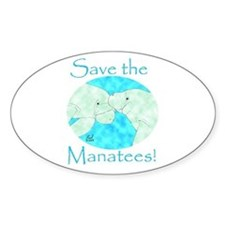 Save the Manatees Oval Decal