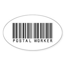 Postal Worker Barcode Oval Sticker (10 pk)