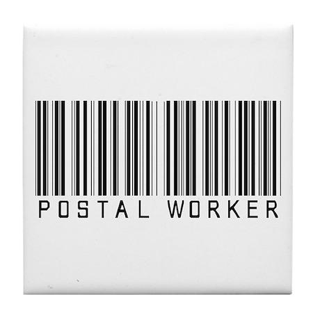 Postal Worker Barcode Tile Coaster