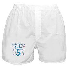 July 5th Birthday Boxer Shorts
