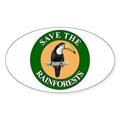 Save Rainforests Oval Sticker (10 pk)