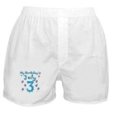 July 3rd Birthday Boxer Shorts