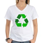 Recycle Environment Symbol (Front) Women's V-Neck