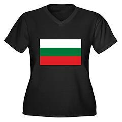 Bulgarian Flag Women's Plus Size V-Neck Dark T-Shi