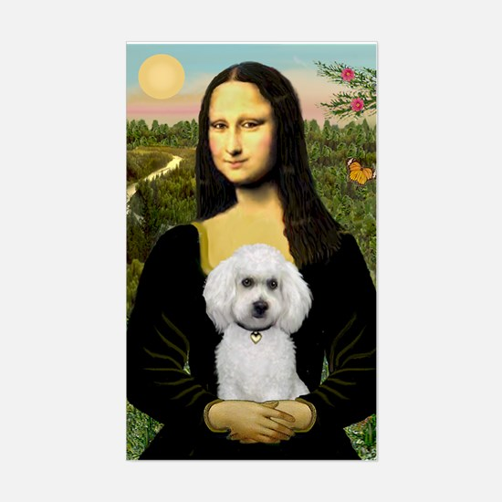 Mona & White Poodle Rectangle Decal