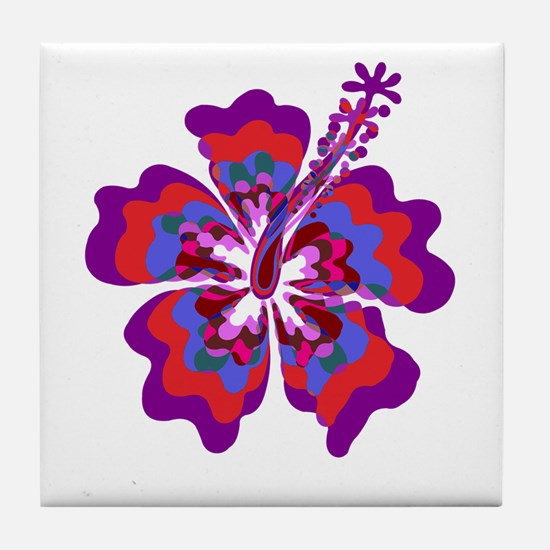 Psychedelic Hibiscus Tile Coaster