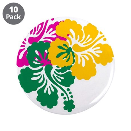 "Colorful Hibiscus 3.5"" Button (10 pack)"