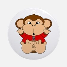 Five Year Old Monkey Ornament (Round)