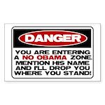 No Obama Zone Rectangle Sticker 50 pk)