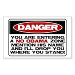 No Obama Zone Rectangle Sticker