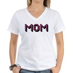 Pink Disco Dots Mom Women's V-Neck T-Shirt