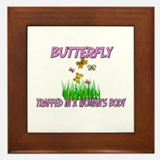 Butterfly Trapped In A Woman's Body Framed Tile